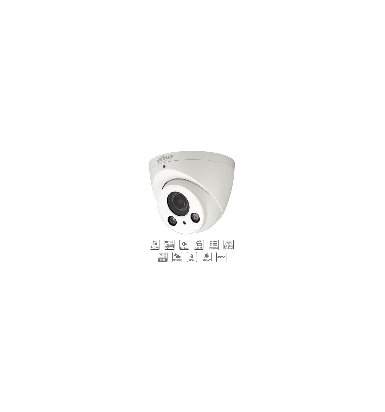 Camara de vigilancia exterior domo hdcvi 4 mp 60 metros for Camara vigilancia exterior