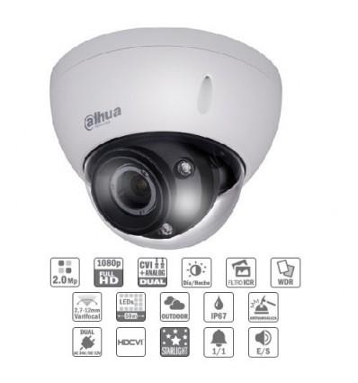 Camara de vigilancia exterior Domo HDCVI 2M 1080P DN ICR WDR Starlight IR50m 2.7-12AI VFM IP67 IK10 Audio Alarma Dual