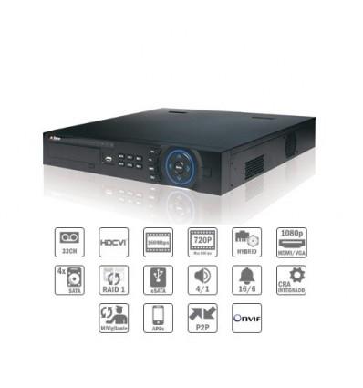 Grabador HDCVI 32ch 720P o IP 1080P@25IPS 2HDMI 4HDD E/S