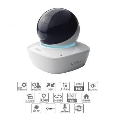 Camara de vigilancia  Cubo PT IP 1.3M DN IR10m 3.6mm Wifi Audio SD 5V