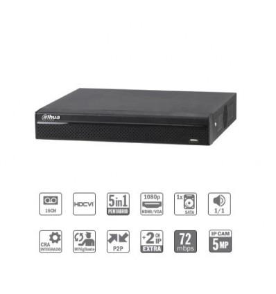 Grabador pentahibrido DVR 5EN1 16ch 1080N/720P@12ips +2IP 5MP 1HDMI 1HDD