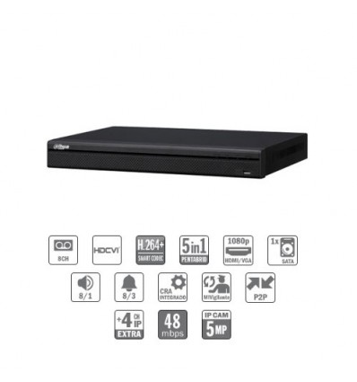 Grabador pentahibrido DVR 5EN1 8ch 1080P@12ips +4IP 5MP 1HDMI 1HDD E/S