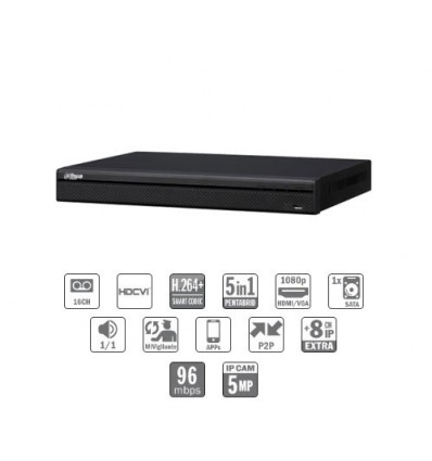 Grabador pentahibrido DVR 5EN1 16ch 1080P@12ips +8IP 5MP 1HDMI 1HDD