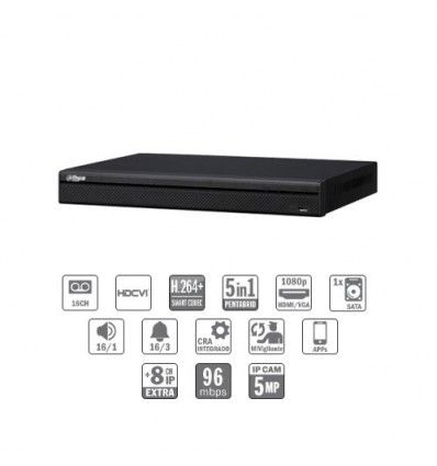 Grabador pentahibrido DVR 5EN1 16ch 1080P@12ips +8IP 5MP 1HDMI 1HDD E/S