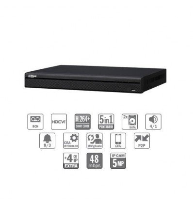 Grabador pentahibrido DVR 5EN1 8ch 1080P@12ips +4IP 5MP 1HDMI 2HDD E/S