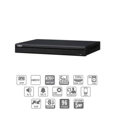Grabador pentahibrido DVR 5EN1 16ch 1080P@12ips +8IP 5MP 1HDMI 2HDD E/S