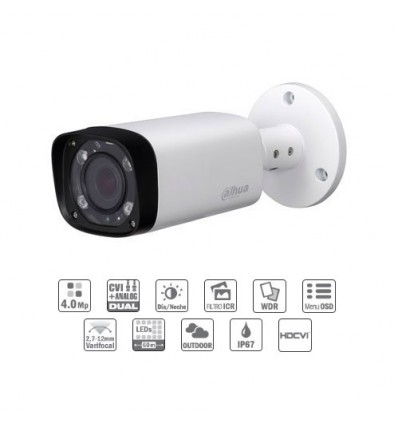 Camara de vigilancia Tubular HDCVI 4M DN WDR IR60m 2.7-12mm VFM IP67 CFEX-HFW2401R-Z-IRE6