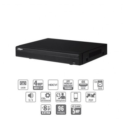 Grabador Tríbrido 16ch 4MP@12ips +8IP 5MP 1HDMI 1HDD CFEX-HCVR7116H-4M