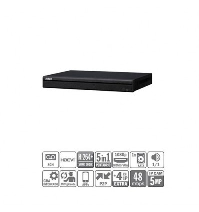 DVR 5EN1 8ch 1080P@25ips +4IP 5MP 1HDMI 1HDD XVR7108H