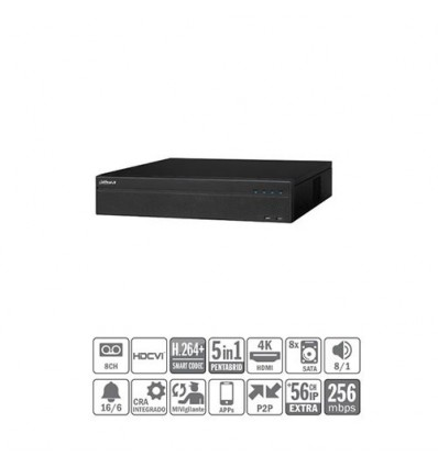 DVR 5EN1 8ch 4MP@12ips +56IP 12MP 2HDMI 8HDD E/S XVR8808S
