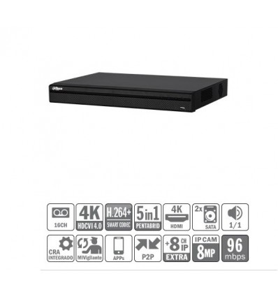 DVR 5EN1 16ch 4K@6ips +8IP 8MP 1HDMI 2HDD XVR5216AN-4KL