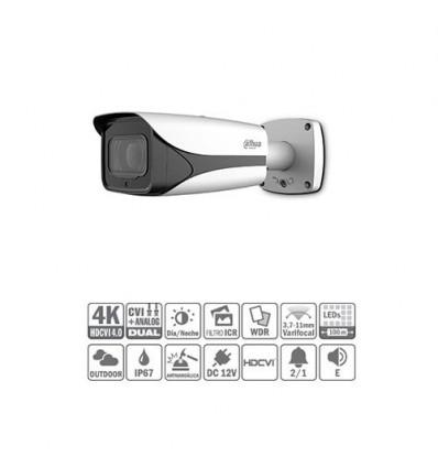 Tubular HDCVI 4K DN WDR IR100m 3.7-11mm VFM IP67 IK10 Audio Alarma Dual HAC-HFW3802E-Z