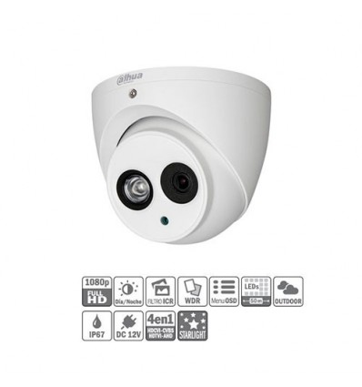 Domo HDCVI 4EN1 2M 1080P DN ICR WDR Starlight IR50m 0Lux 2.8mm IP67 HAC-HDW2231EM-0280B