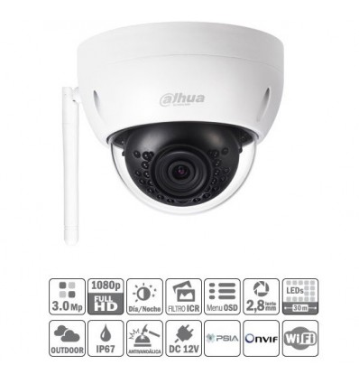 Domo IP 3M Wifi DN 3D-NR IR30m 2.8mm IP67 IK10 IPC-HDBW1320E-W-0280B