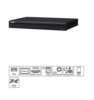 NVR 8ch 80Mbps H264 HDMI 8PoE 2HDD NVR2208-8P-S2