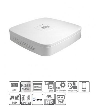 NVR 4ch 80Mbps 4K H265 HDMI 4PoE 1HDD NVR4104-P-4KS2