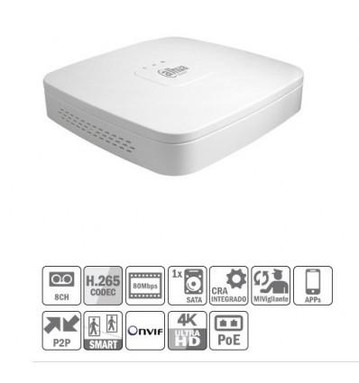 NVR 8ch 80Mbps 4K H265 HDMI 4PoE 1HDD NVR4108-P-4KS2