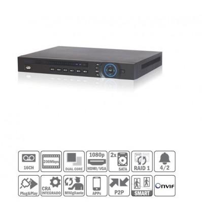 NVR 16ch 200Mbps H264 HDMI 8PoE 2HDD E/S NVR4216-8P