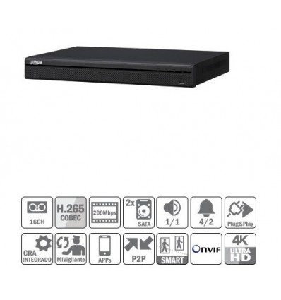 NVR 16ch 200Mbps 4K H265 HDMI 16PoE 2HDD E/S NVR4216-16P-4KS2