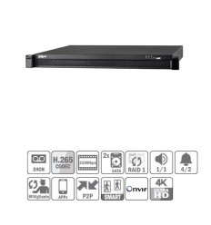 NVR 24ch 320Mbps 4K H265 HDMI 24PoE 2HDD E/S NVR5224-24P-4KS2