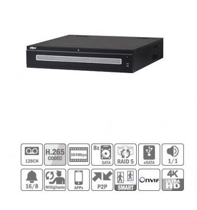 NVR 128ch 384Mbps 4K H265 2xHDMI 8HDD RAID5 E/S Redundant NVR608R-128-4KS2