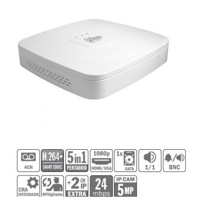 DVR 5EN1 4ch 4M-N/1080P@12ips +2IP 5MP 1HDMI 1HDD XVR5104C-S2