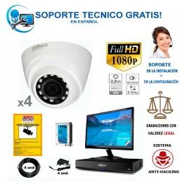 kit de 4 camaras de vigilancia barato con camaras full-hd