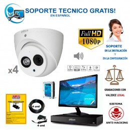 kit de 4 camaras de vigilancia barato de alta resolucion y  con audio