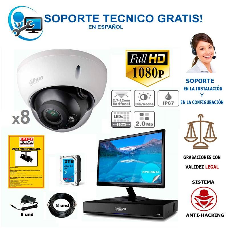 kit 8 camaras de vigilancia domo