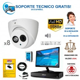 kit de 8 camaras de vigilancia full-hd con audio incorporado