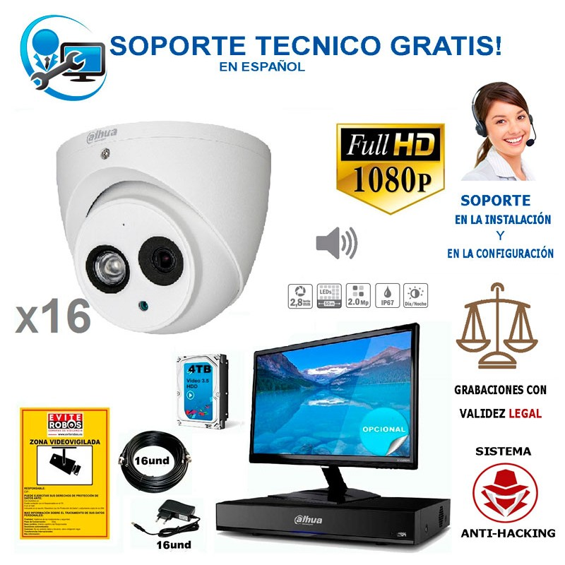 kit de 16 camaras de vigilancia full-hd con audio