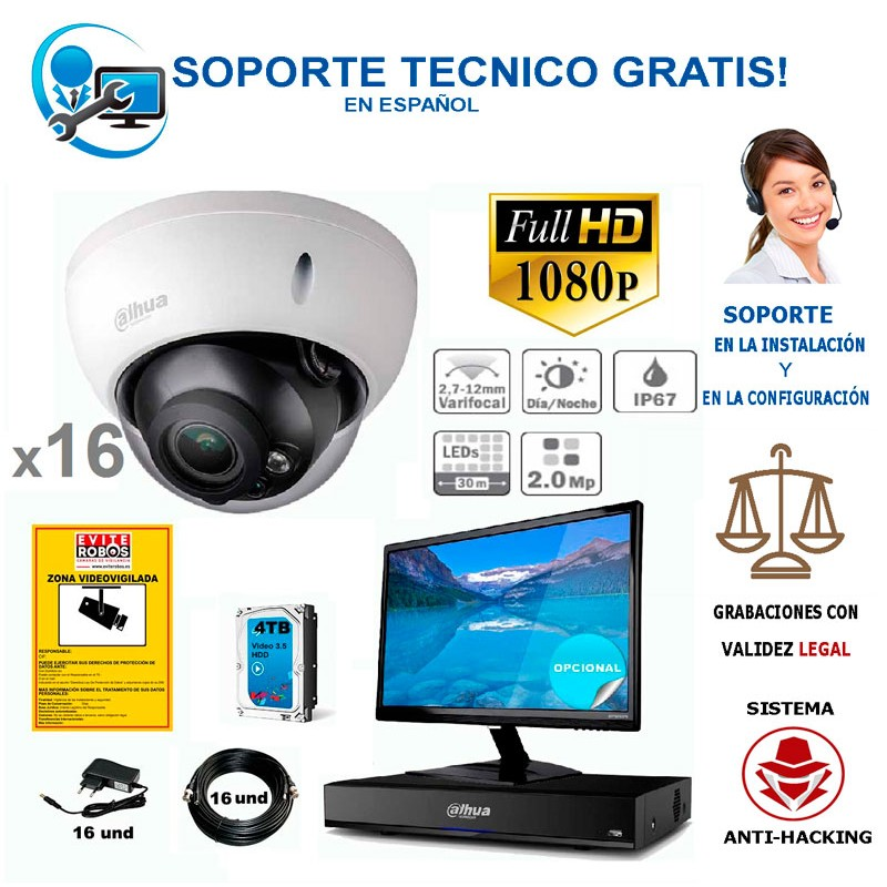 kit de 16 camaras de vigilancia full-hd