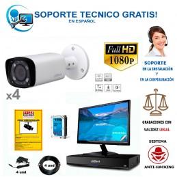 kit de 4 camaras de vigilancia  para exterior con calidad full-hd y vision nocturna hasta 60m