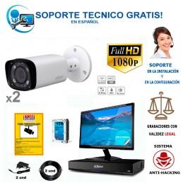 kit de video vigilancia compuesto por 2 camaras full-hd para exterior y grabador para 4 camaras