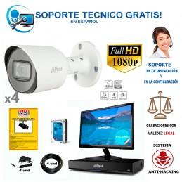 kit de 4 camaras de vigilancia barato con calidad full-hd