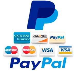 Pago mediante su cuenta PayPal o con tarjeta de crédito/Débito